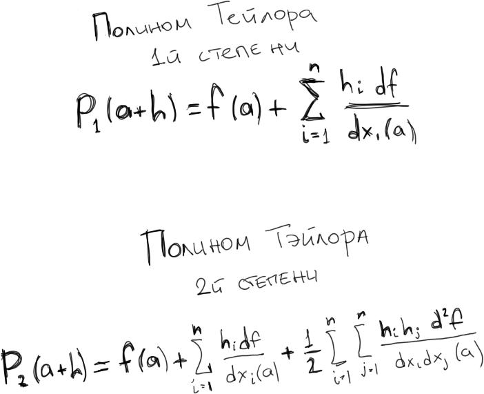 полиномы тэйлора 1 и 2 степени